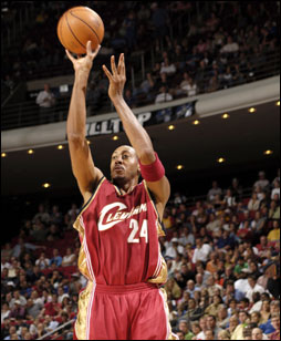 Cleveland Cavaliers shoots against the Orlando Magic on November 13, 2005 at TD