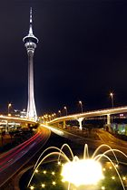 Macau Tower at night.