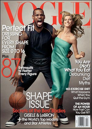Lebron James on the Cover of Vogue with Gisele