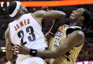 Lebron James responded with an elbow to Andray Blatche