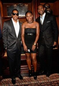 Lebron James with music star Jay-Z and tennis star Serena Williams